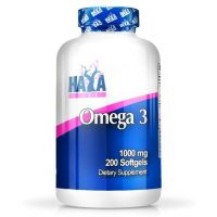 Omega 3 1000mg envase de 200 softgels del fabricante Haya Labs (Fuente Animal)