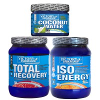 Pack total recovery 750g + iso energy 900g + coconut water 200g - Victory Endurance