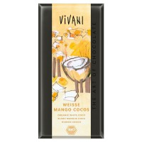 White chocolate with pieces of mango, coco and yoghurt bio - 100g - Faites vos achats online sur MASmusculo