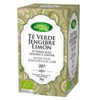 Green tea, ginger and lemon infusion - 20 sachets - Compre online em MASmusculo