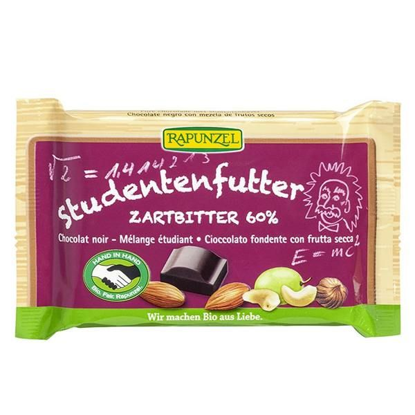 60% black chocolate snack with nuts rapunzel - 100g