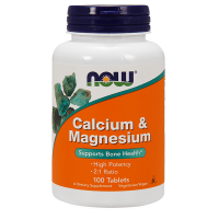Calcium & magnesium - 100 tablets - Now Foods