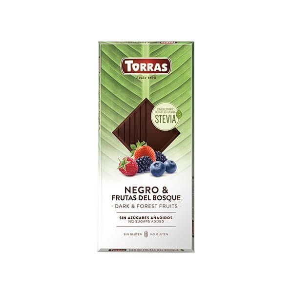 Dark chocolate with forest fruits with stevia - 125g