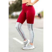 Legging Bar Layered Rojo Oscuro y Gris